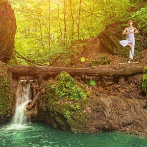Yoga at a waterfall